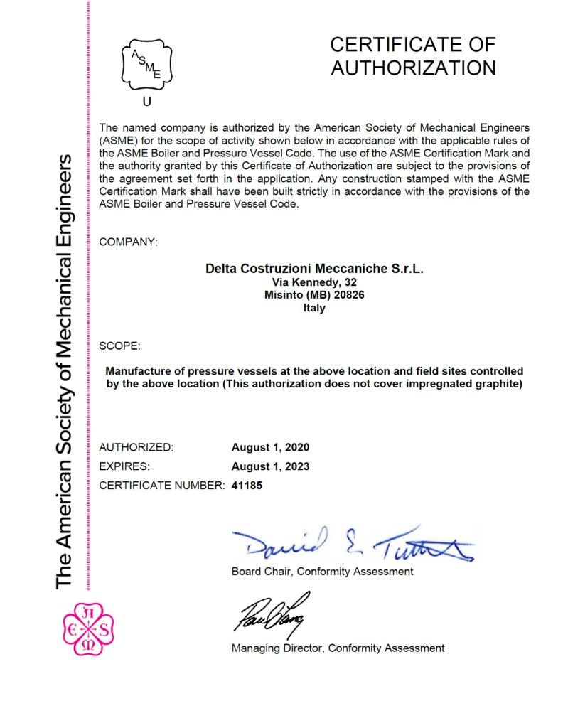 Renewal ASME U Certificate Delta Costruzioni Meccaniche - image